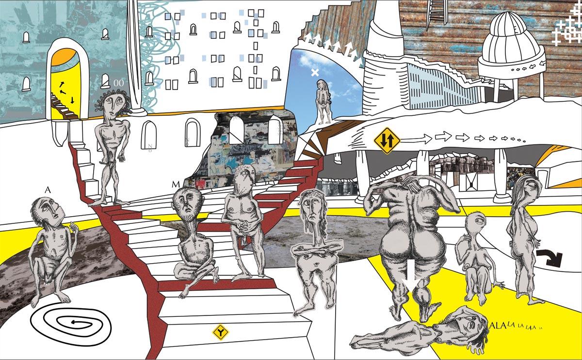 Daniel Cruz. Técnica en collage Digital. Encontrar el camino. Escenario 1.